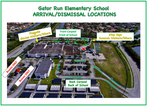 Gator Run Arrival and Dismissal Map