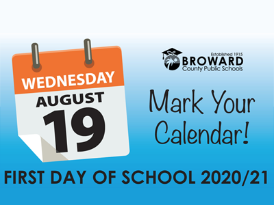 Mark Your Calendar, First day of school 2020/21 is August 19,2019