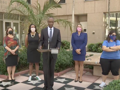 Broward County Public Schools and Broward Teachers Union hold joint news conference to announce tent