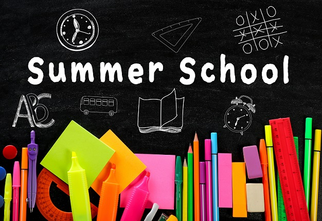 Summer School words and picture of school supplies like pencils, markers and scissors