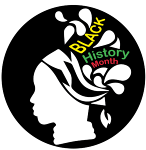 Logo of woman with the words black history month