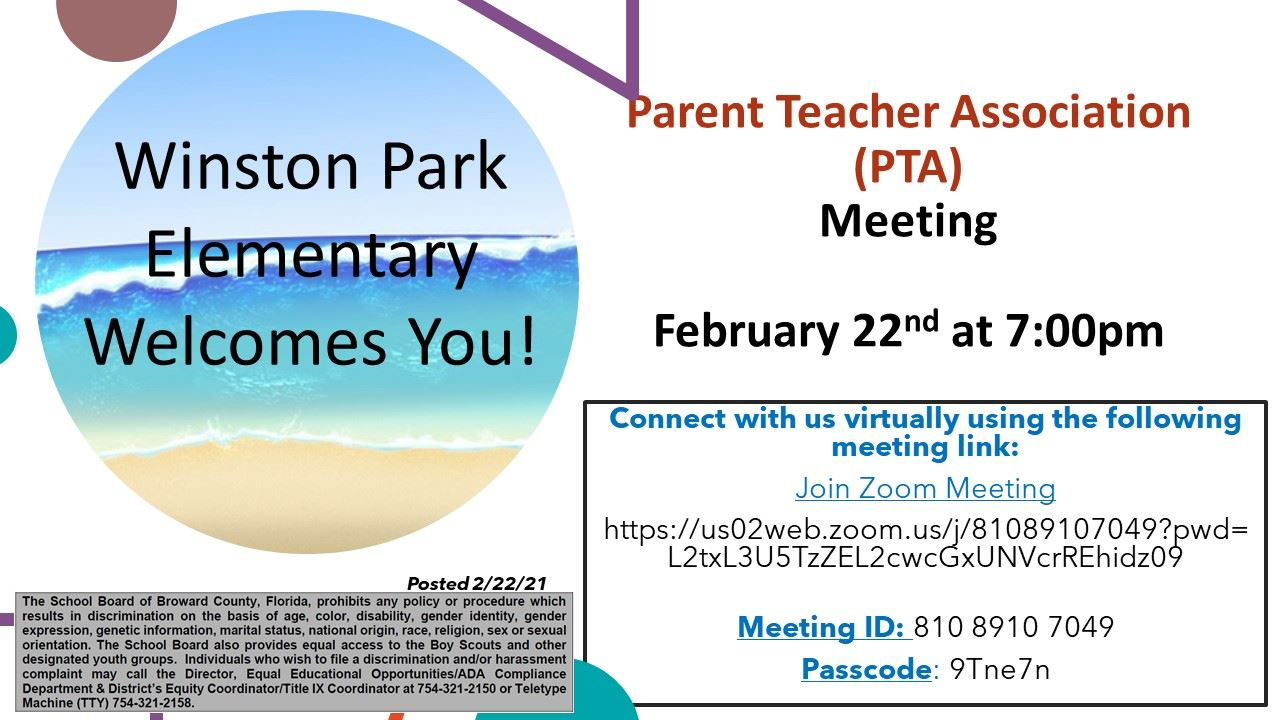 PTA Meeting Click Here