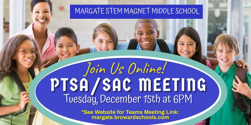 PTSA/SAC Meeting on Tuesday, Jmarch 16th at 6:30PM