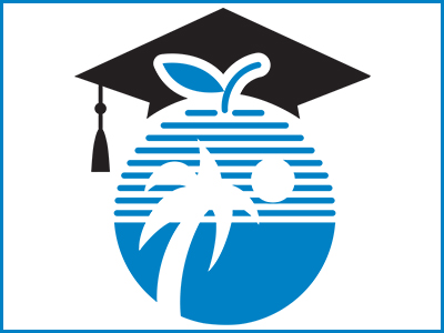 Palm tree and sun inside of an apple with a graduation cap (BCPS logo)