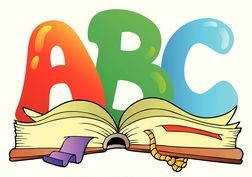 Cartoon alphabet over an open book