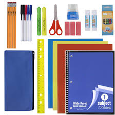 school supplies neatly organized