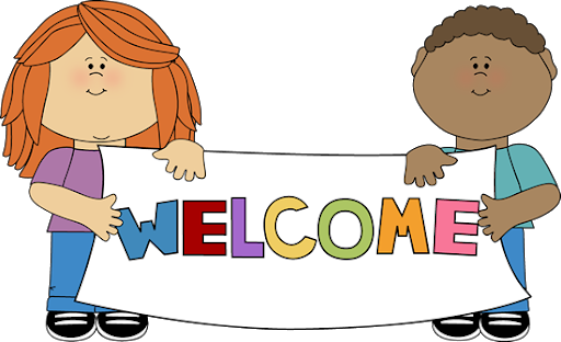 Clipart of kids holding welcome sign