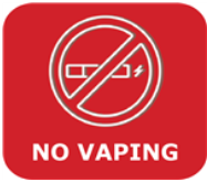 Red and white graphic that says No Vaping with an e-Cig crossed out